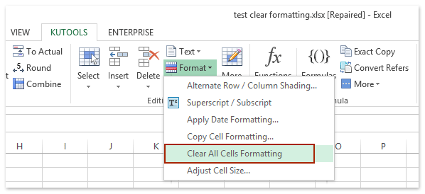 Clean Excess Cell Formatting button