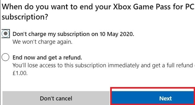 end Xbox Game Pass subscription