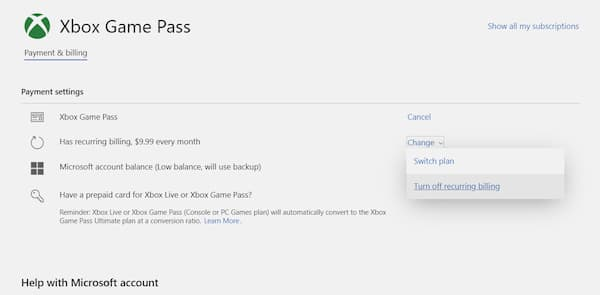 how to cancel xbox game pass on xbox one