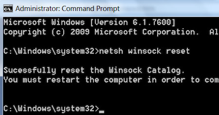 how to do netsh winsock reset