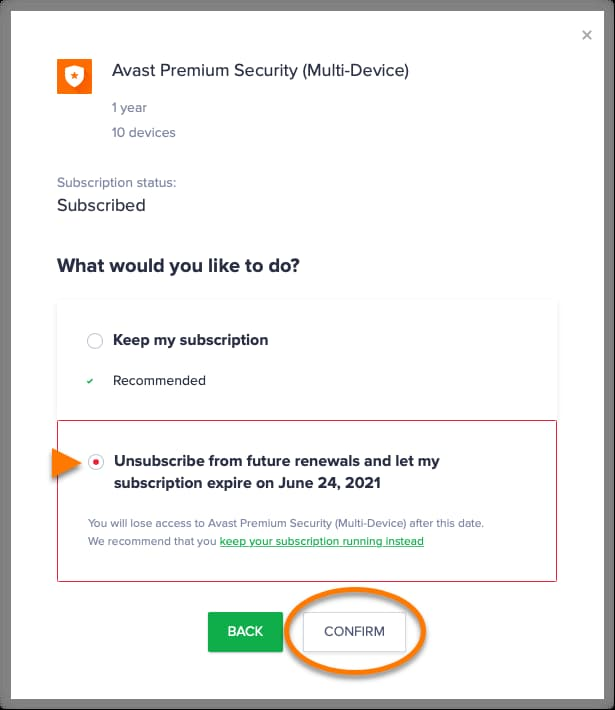 how to cancel avast cleanup premium subscription